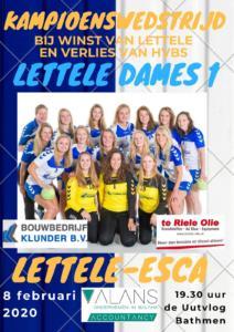 Flyer kampioenswedstrijd HV Lettele DS1 08-02-2020